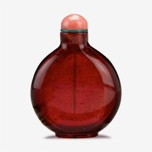 A Chinese ruby glass snuff bottle, 18th century