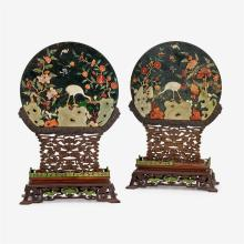 A fine pair of Chinese hardstone inset spinach jade table screens with hongmu stands, late qing dynasty