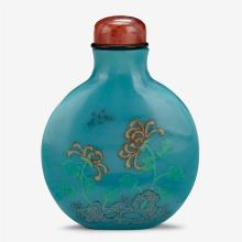 A Chinese enameled blue glass snuff bottle decorated with chrysanthemums, gu yuexuan mark