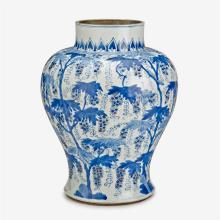 A large and rare Chinese underglaze blue and red