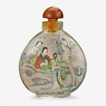 A Chinese inside painted glass snuff bottle with stopper, attributed to ye zhongsan, dated 1913