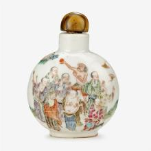 A Chinese famille rose enameled porcelain Luohan snuff bottle with tiger eye stopper, daoguang four character mark and of the period