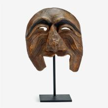 A Korean carved and stained wood dance mask, 18th century