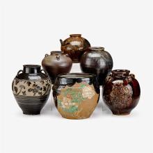 Six large Japanese brown glazed storage jars, edo period and later