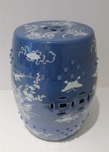Two Chinese blue and white porcelain garden stools, 19th / 20th century