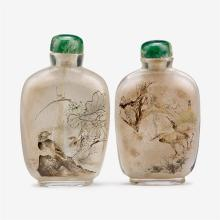 Two Chinese inside painted snuff bottles decorated to show birds among flowers, signed dongshun and dated 1966
