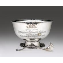Large sterling silver presentation punch bowl of nautical interest, marked for J.E. Caldwell & Co., Philadelphia, PA, probably by
