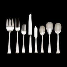 Sterling silver 'Modern Georgian' pattern flatware service for twelve, Allan Adler, Los Angeles, CA, circa 1940