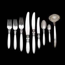 Danish silver 'Cactus' pattern partial flatware service, Gundorph Albertus for Georg Jensen, Copenhagen, 1930