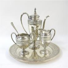 Sterling silver 'Wedgwood' pattern coffee service, International Silver Co., Meriden, CT, circa 1900