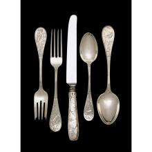 Sterling silver 'Audubon' pattern flatware luncheon service for twelve, Edward C. Moore for Tiffany & Co., New York, NY, 1871