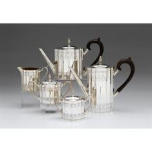 Five-piece sterling silver tea and coffee service, Lunt Silversmiths, Greenfield, MA, 20th century