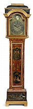 George II Japanned tall case clock, mid 18th century, dial signed john brown, liverpool, The brass dial with foliate and mask cast span