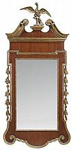 George III style mahogany and giltwood mirror, , The paterae and acanthus carved swan neck pediment centered by a carved giltwood eagle