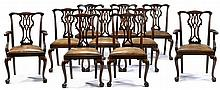 Set of ten George III style mahogany dining chairs, late 19th/early 20th century, Comprising two arm and eight side chairs, the shaped