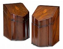 Pair of George III marquetry inlaid mahogany knife boxes, , Serpentine form with featherbanded edge, the lid inlaid with a shell openin