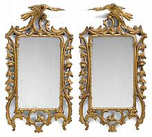 Pair George III style carved and giltwood mirrors, 19th century, The rectangular mirror plates enclosed within a reticulated scroll and