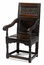 Charles II oak wainscott chair, circa 1680, The rectangular back inset with two panels, the upper carved to show