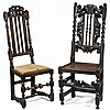 Two William & Mary oak side chairs, circa 1700 and later, The larger with barley twist uprights and splat surrounded by s-scrolls, over