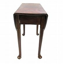 George III mahogany drop-leaf dining table, 18th century, The rectangular top with drop-down sides, over round tapering legs terminatin