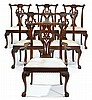 Set of six George III style mahogany dining chairs, early 20th century, Comprising five side chairs and one armchair, the shaped crestr