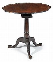 George III mahogany tilt-top tea table, , The circular top with pie crust edge, over bird-cage action and turned baluster support issui