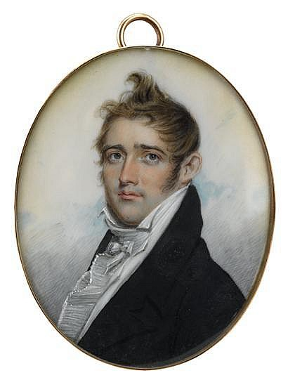 Benjamin Trott (1770-1843), miniature portrait of john baldwin large (1780-1866), Watercolor on ivory, gilt locket case. Accompanied by