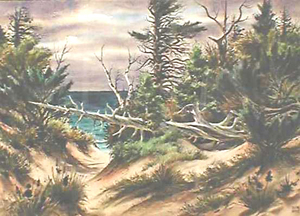 AVERY FISCHER JOHNSON (American 1906-1990) A FALLEN TREE IN THE DUNES