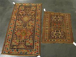 Two East Caucasian rugs, circa 1900, A Lesghi rug, 3 ft. 10 in. x 2 ft. 10 in.; and an Akstafa rug, 6 ft. 3 in. x 3 ft. 3 in. (2)