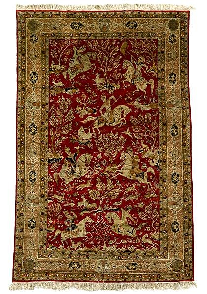 Silk Qum hunting rug, central persia, circa mid 20th century,