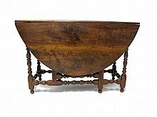 William and Mary drop-leaf gateleg table, 18th century and later,
