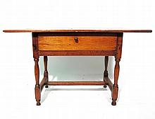 William and Mary pine and maple stretcher table, new england, 18th century,