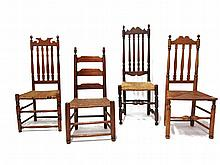Three turned Bannister back chairs with rush seats, together with a ladderback chair, new england and shenandoah valley 18th and 19th c
