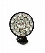 Circular tin and glass candle sconce, 18th/19th century,