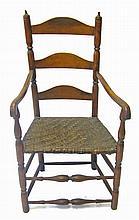 Maple ladderback splint seat side arm chair, 18th/19th century,