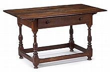 William and Mary walnut stretcher table, 18th century,