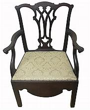 Chippendale mahogany commode armchair, philadelphia, pa, circa 1770,