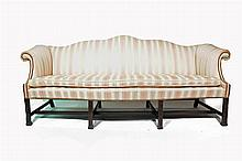 Chippendale pink and ivory upholstered sofa, 19th century,
