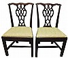 Pair of Chippendale carved mahogany side chairs, late 18th century,