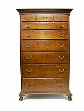 Chippendale walnut tall chest, late 18th century and later,