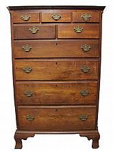 Chippendale walnut tall chest, pennsylvania, second half 18th century,