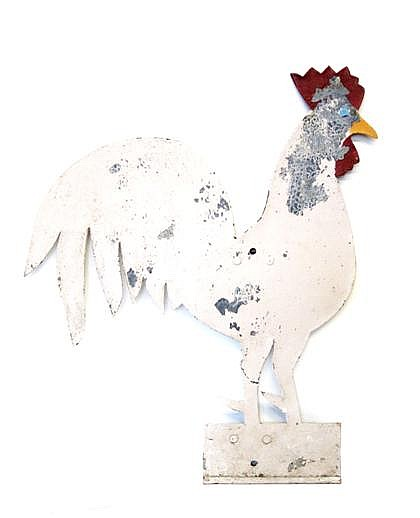 Painted sheet metal rooster weathervane, 20th century, The silhouetted form painted white, red and yellow.