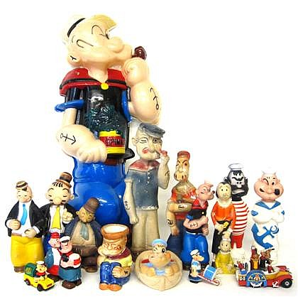 Group of Popeye collectibles, , Comprising Headlites plastic lighted wall sculpture; Popeye and Brutus Colgate-Palmolive Soakies; two P