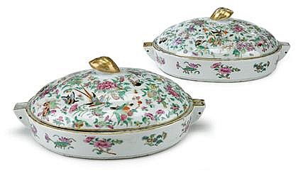Pair of Chinese Export porcelain Famille Rose warming dishes with covers, 19th century, Each of oval form with domed lids, butterfly, f