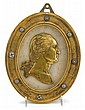 Brass and marble plaque with profile of George Washington, continental, early 19th century, Molded frame with porcelain rosettes enclos