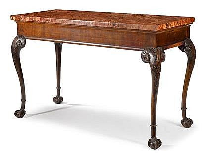 Fine Irish George II mahogany and marble console table, mid 18th century, The rectangular rouge marble top over molded frieze supported