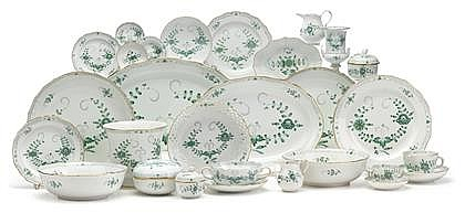 Large Meissen 'Indian Green' porcelain dinner service, , Comprising ten dinner plates; sixteen salad plates; eighteen bread and butte