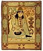 Kashan portrait rug, central persia, circa 1890,
