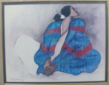 R.C. Gorman Blue Blanket Poster 22x28