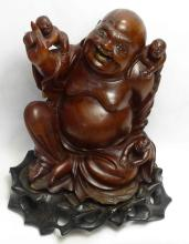 Fine 19th c. Chinese Carved Rosewood Laughing Buddha & Children